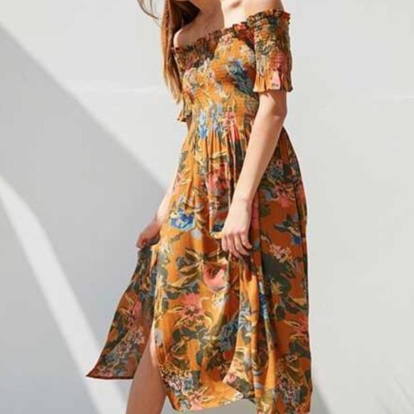 711094e4a831 Kimchi Blue Dresses   Skirts - Orange Floral Off the Shoulder Dress with  slit